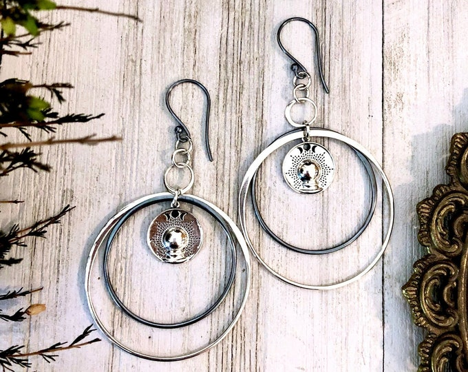 Long Crystal Ball Earrings in Solid Sterling Silver with Blackened Silver Hoops & Sterling Silver Earwires