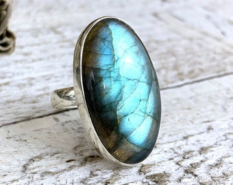 Labradorite Statement Ring Set in Sterling Silver Adjustable from size 6-9 / Curated by FOXLARK collection