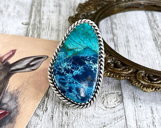 Size 9 Shattuckite Statement Ring Set in Sterling Silver / Curated by FOXLARK Collection