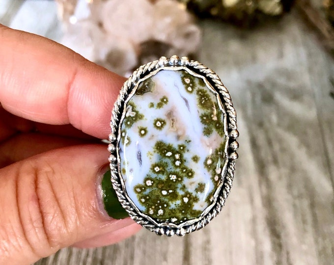 Size 7 Ocean Jasper Statement Ring Set in Sterling Silver  / Curated by FOXLARK Collection