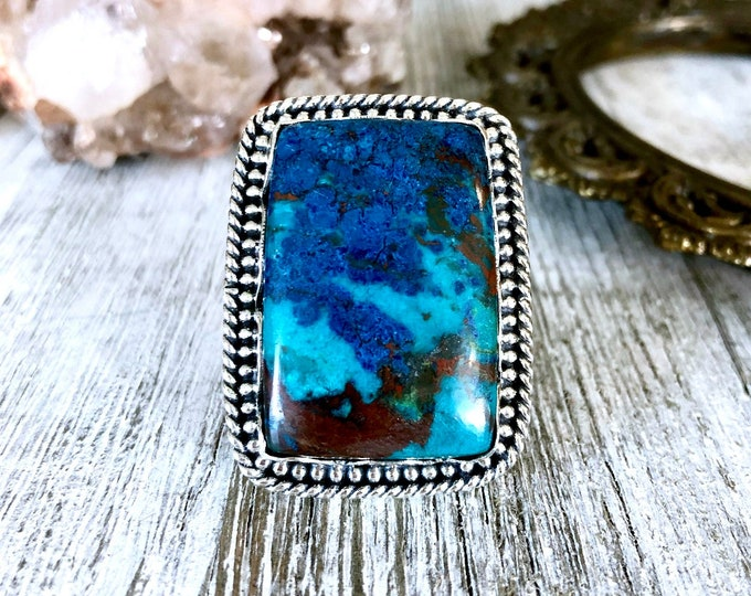 Size 7 Sterling Silver Chrysocolla Statement Ring  / Curated by FOXLARK Collection