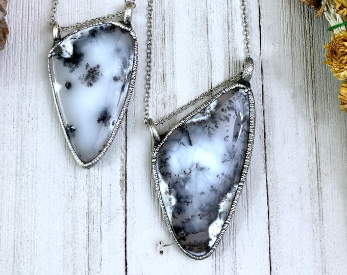 Silver Crystal Necklace , Moss Opal Necklace , Natural Stone Necklace Pendant , Dendritic Opal Jewelry , Boho Stone Statement Necklace