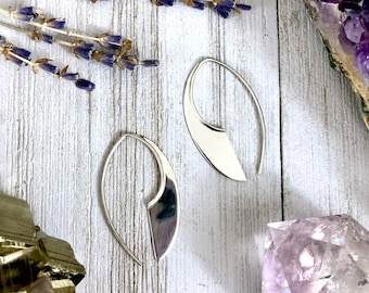 Sterling Silver Long Dangly Geometric Earrings