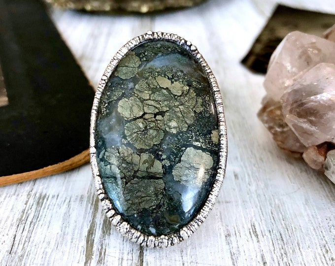 Big Crystal Statement Ring Size 9 / Dendritic Marcasite Agate Ring in Silver