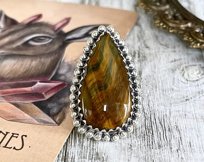Size 5  Blue Tiger Eye Statement Ring Set in Sterling Silver  / Curated by FOXLARK Collection