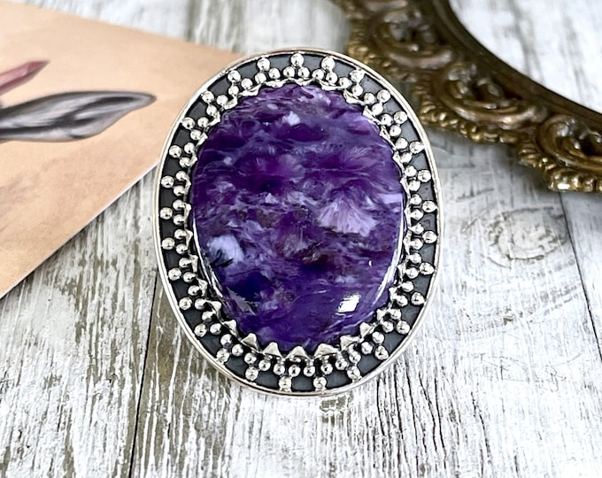 Size 7 Charoite Statement Ring Set in Sterling Silver / Curated by FOXLARK Collection