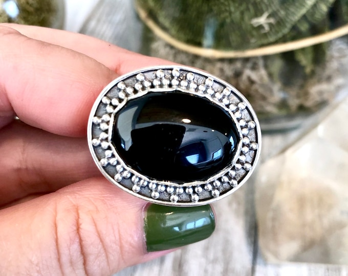 Size 8 Black Onyx Statement Ring Set in Sterling Silver / Curated by FOXLARK Collection