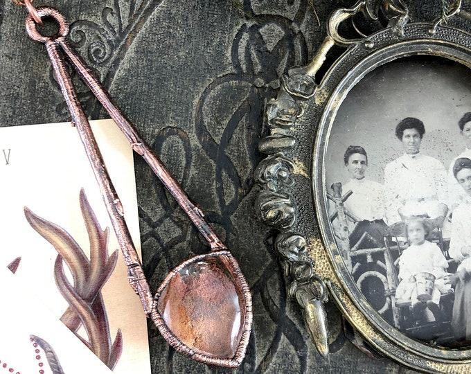 Lodolite Garden Quartz Crystal Necklace Natural Twig & Stone Necklace Pendant