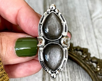 Mystic Moons Silver Sheen Obsidian Crystal Ring in Solid Sterling Silver- Designed by FOXLARK Collection Size 6 7 8 9 10