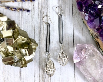 Sterling Silver Long Dangly Geometric Earrings with Blackened Silver Hoops