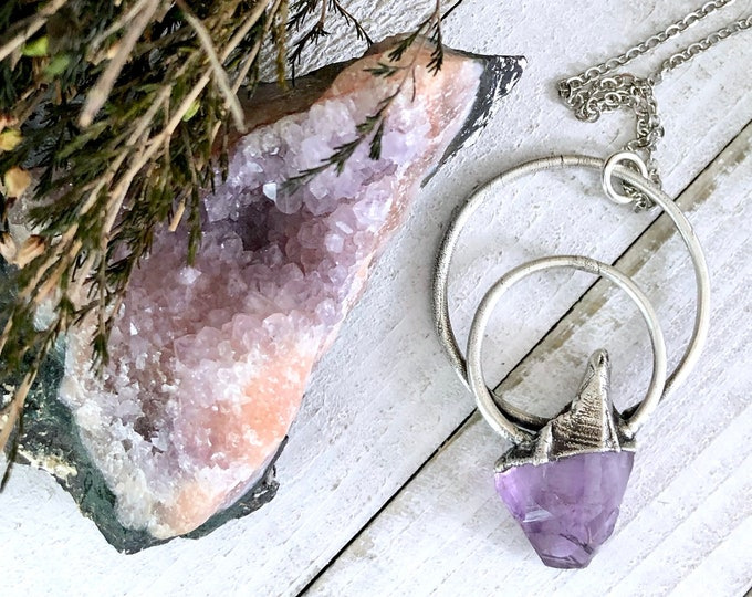 Big Crystal Necklace / Large Amethyst Pendant / Raw Crystal Necklace for Women Silver