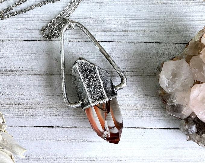 Amphibole Quartz Raw Crystal Necklace in Silver