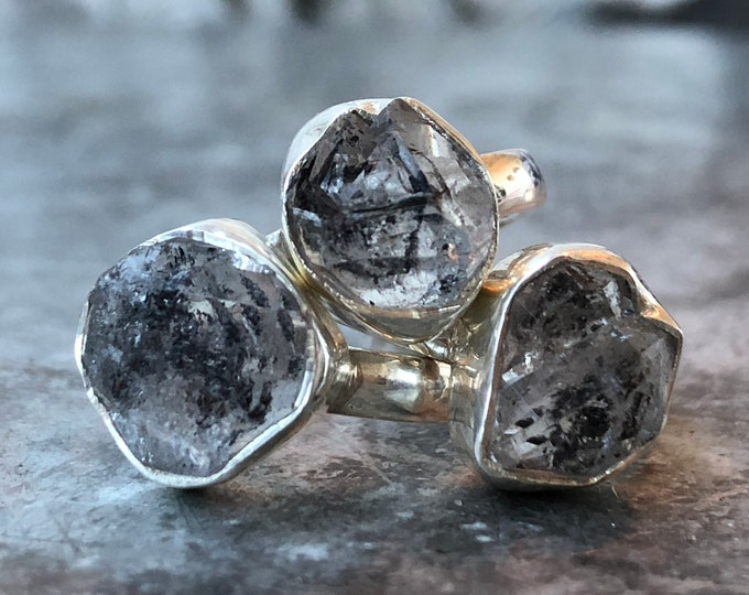 Size 6 or 7 Graphite Included Quartz Ring Set in Sterling Silver / Curated by FOXLARK collection