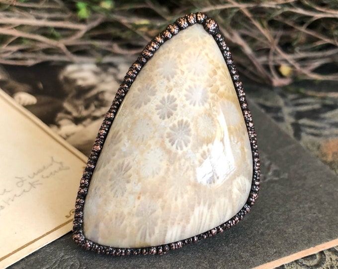 Fossilized Coral Statement Ring Size 8-1/2 - Large Stone Ring -Agatized Coral Ring