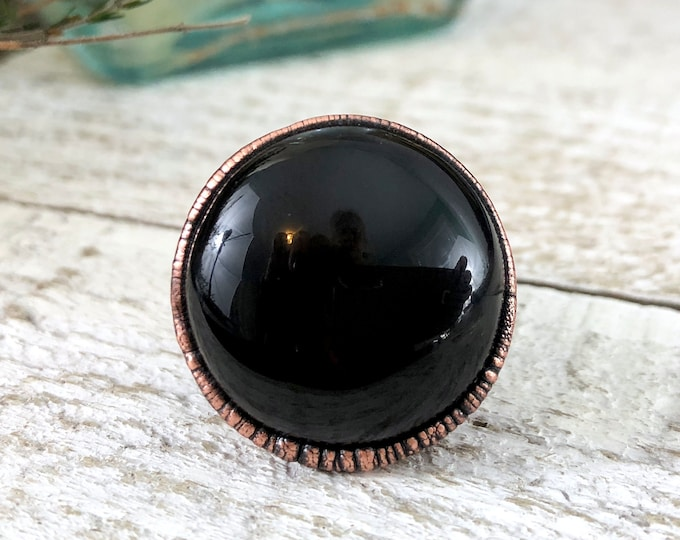 Black Onyx Ring Size 8.25 Crystal Ring / Large Copper Electroformed Ring