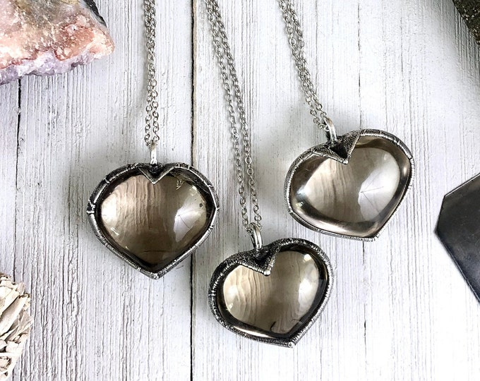 Smoky Quartz Heart Necklace Silver Crystal Necklace / Black Crystal Heart Jewelry For Woman / Healing Crystal Jewelry Bohemian Jewelry