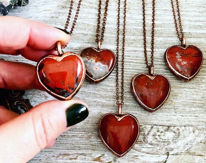 Red Jasper Stone Heart Necklace Pendant