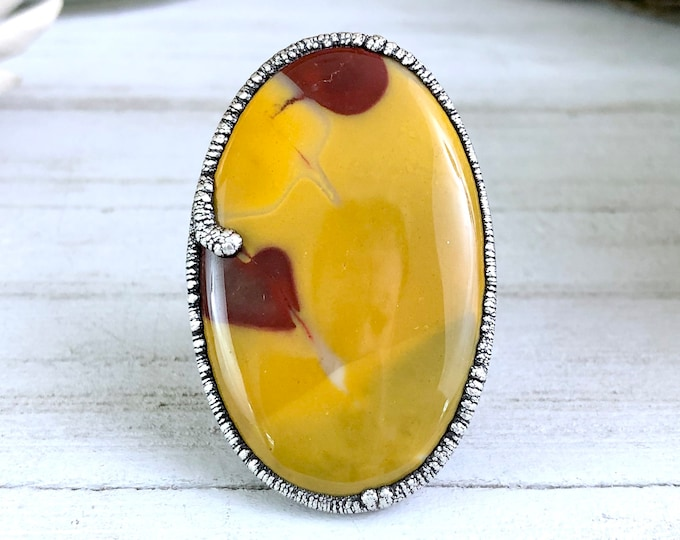 Big Silver Mookaite Statement Ring for Woman
