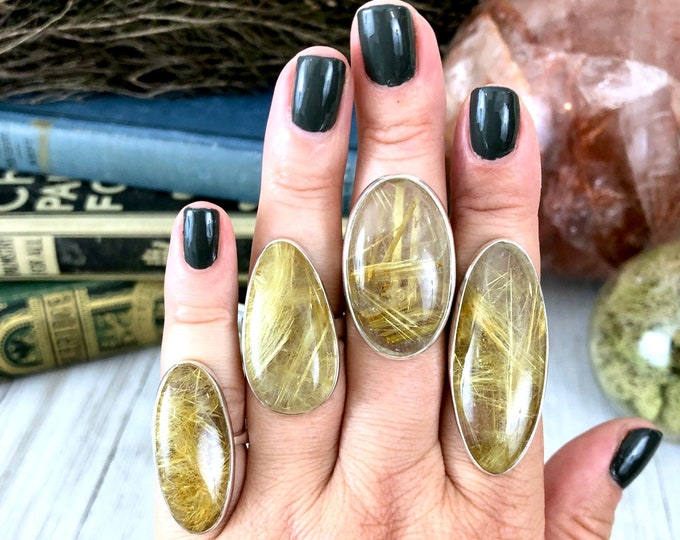 Golden Rutile Quartz  Statement Ring Set in Sterling Silver / Curated by FOXLARK Collection