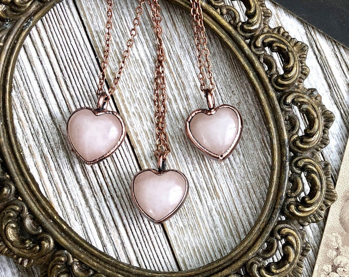 Pink Rose Quartz Crystal Necklace Pink Crystal Heart Necklace