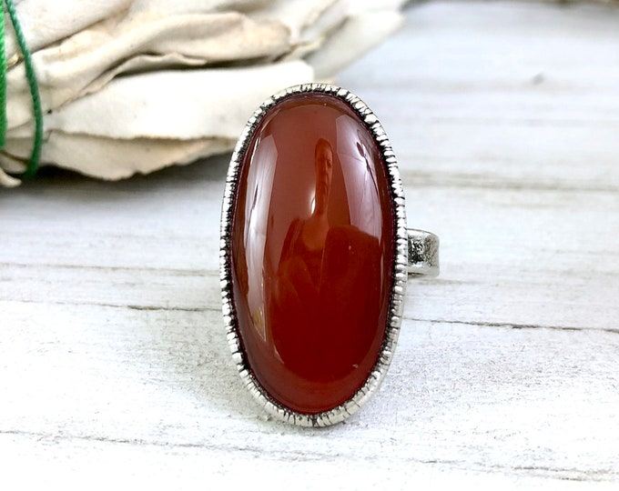 Size 7 Red Carnelian Ring in Silver