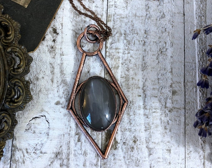 Gray Moonstone Crystal Necklace Pendant / Natural Moonstone Statement Jewelry