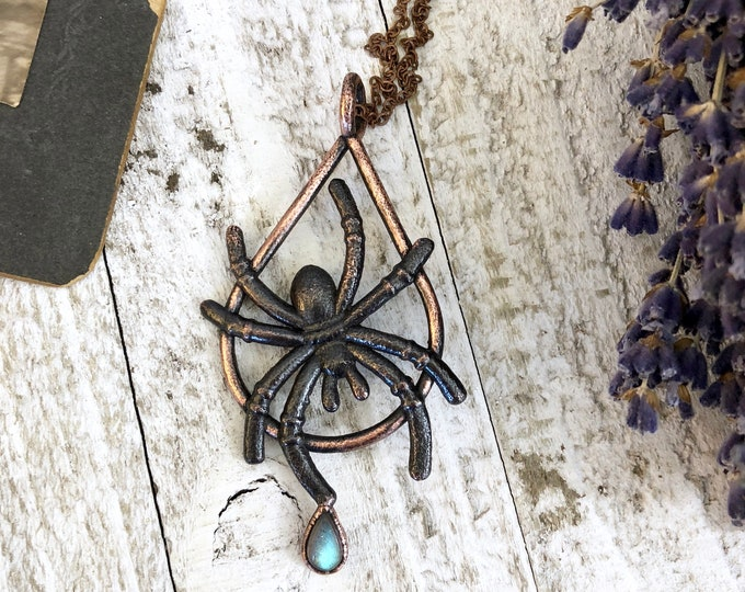 Spider Necklace with Labradorite Necklace Charm
