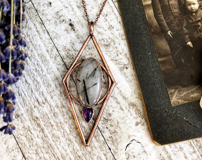 Large Tourmilated Quartz Crystal Necklace / Amethyst Teardrop Necklace