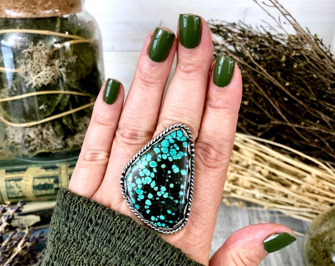 Size 9 Tibetan Turquoise Statement Ring Set in Sterling Silver / Curated by FOXLARK Collection