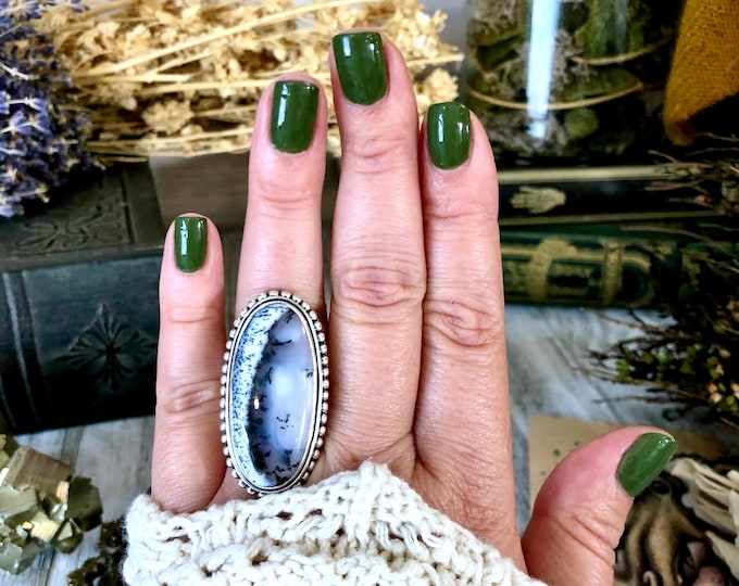 Size 8 Dendritic Opal Statement Ring Set in Sterling Silver / Curated by FOXLARK Collection