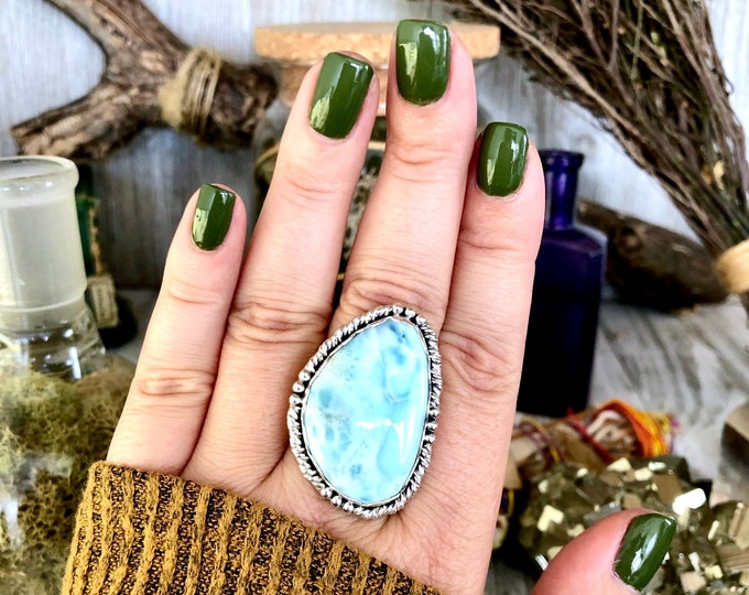 Size 9 Larimar Statement Ring Set in Sterling Silver / Curated by FOXLARK Collection