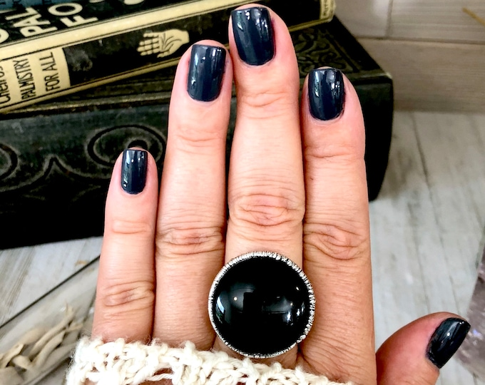Size 9.5 Natural Black Onyx Ring in Fine Silver