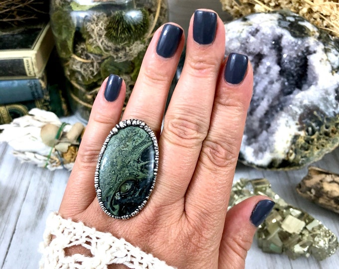 Big Crystal Statement Ring Size 7.75 / Kambaba Jasper Ring in Silver