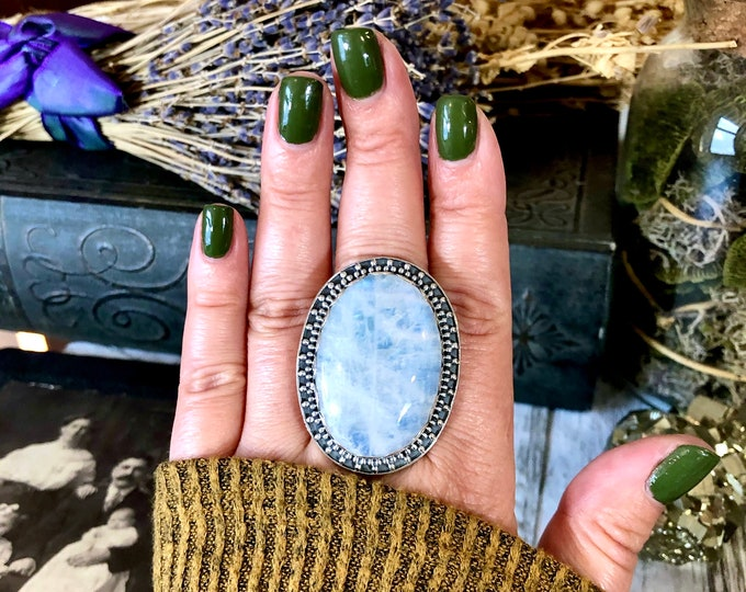 Size 9 Large Rainbow Moonstone Ring Set in Sterling Silver- Curated by FOXLARK Collection