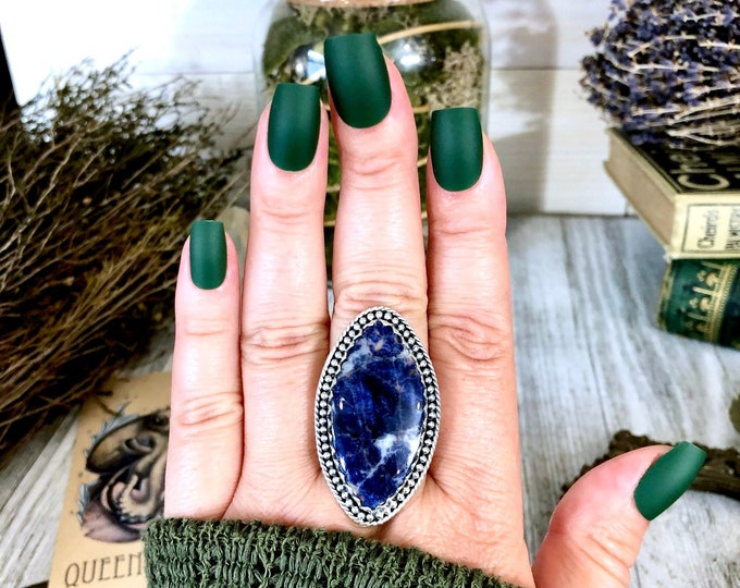 Size 9.5 Sodalite Statement Ring Set in Sterling Silver / Curated by FOXLARK Collection