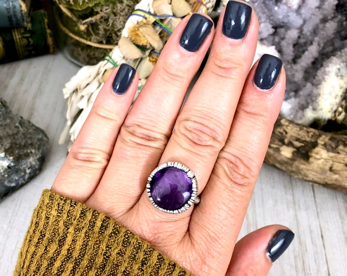 Amethyst Ring in Silver Size 8.5  / Raw Crystal Ring Silver Amethyst Ring
