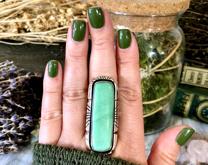Size 10 Stunning Variscite Statement Ring Set in Thick Sterling Silver / Curated by FOXLARK Collection