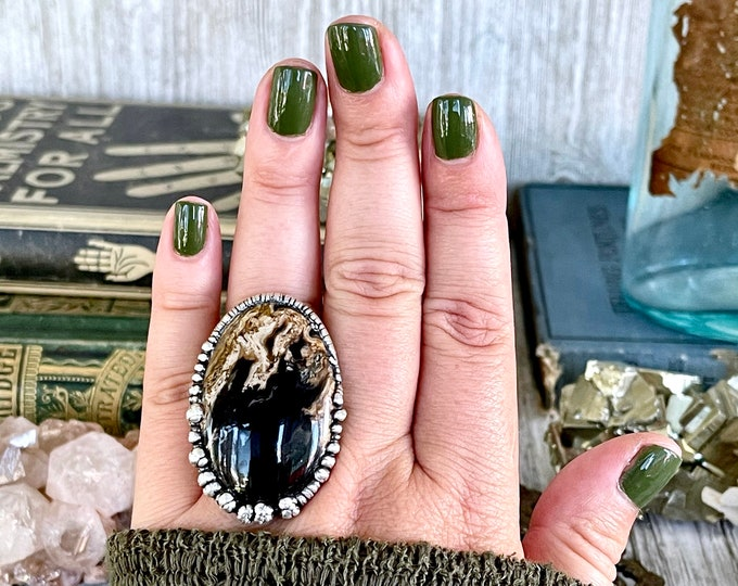Size 7.5 Large Fossilized Palm Root Statement Ring in Fine Silver / Foxlark Collection - One of a Kind