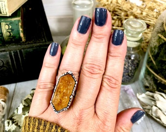 Size 8 Citrine Point Ring Set in Silver