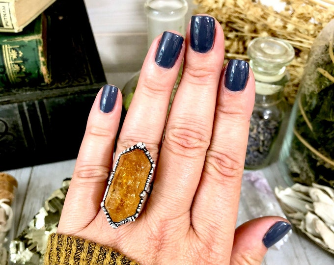 Citrine Point Ring Set in Silver Size 6.5,  8,  9