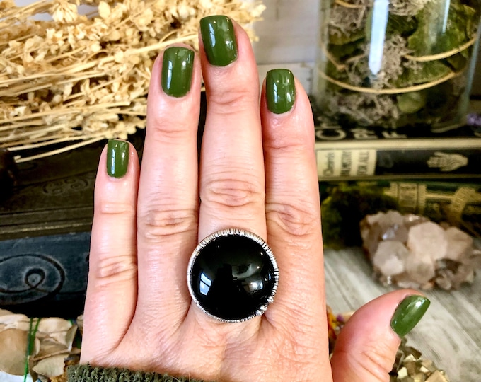 Size 7 or 8 Natural Black Onyx Ring in Fine Silver / Foxlark Collection - One of a Kind