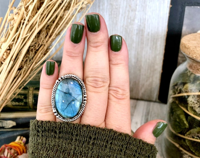 Size 7 Labradorite Statement Ring Set in Sterling Silver  / Curated by FOXLARK Collection
