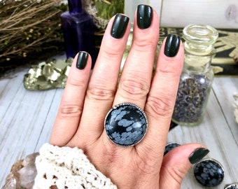 Snowflake Obsidian Ring in Fine Silver Size 6 7 8 9 11