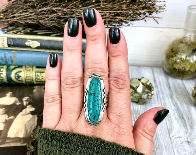 Stunning Kingman Turquoise Statement Ring Set in Sterling Silver Size 9.5 / Curated by FOXLARK Collection