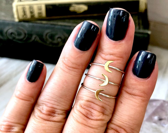 Tiny Crescent Moon Ring in Sterling Silver / Curated by FOXLARK Collection