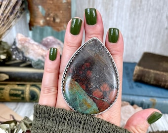 Size 9 Huge Sonora Chrysocolla Statement Ring Set in Sterling Silver / Curated by FOXLARK Collection