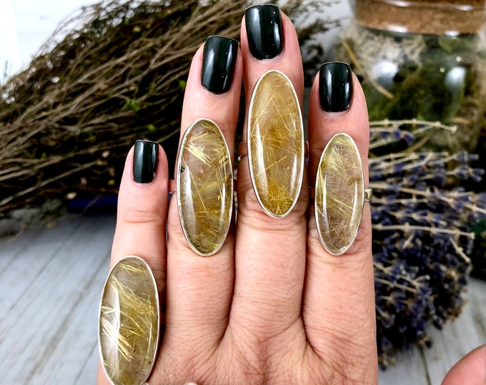 Golden Rutile Quartz  Statement Ring Set in Sterling Silver / Curated by FOXLARK Collection SIZE 5 6 7 8 9 10