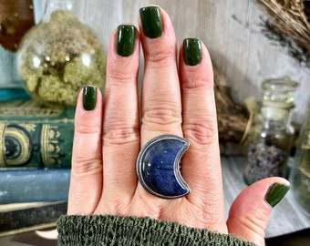 Crescent Moon Labradorite Ring in Solid Sterling Silver- Designed by FOXLARK Collection Size 6 7 8 9 10