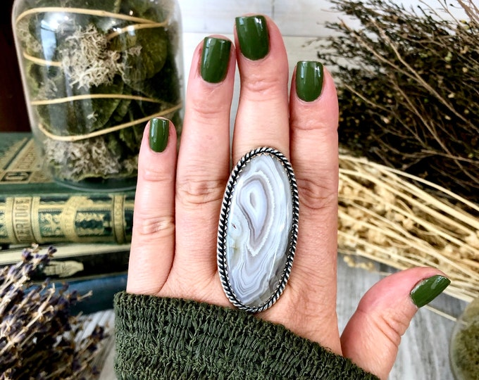 Size 8 Botswana Agate Statement Ring Set in Sterling Silver / Curated by FOXLARK Collection