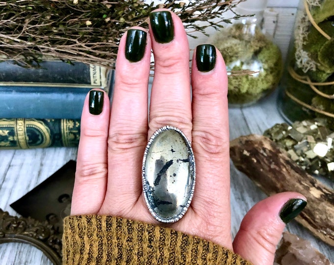 Size 8.75 Big Gold Pyrite Statement Ring in Fine Silver